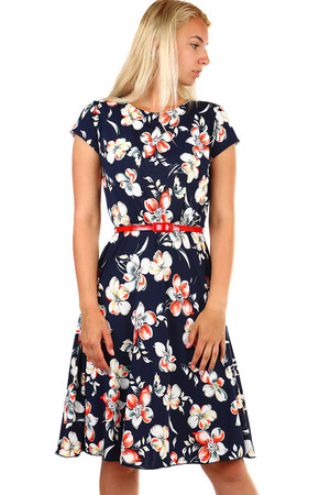 Women's patterned short-sleeved dress and belt. Up to size 50. Material: 100% polyester. Import: Poland