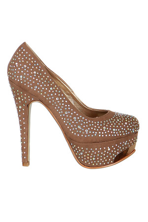 Unmistakable women's pumps decorated with rhinestones. Material: upper: fabric, insole: artificial leather, sole: synthetic