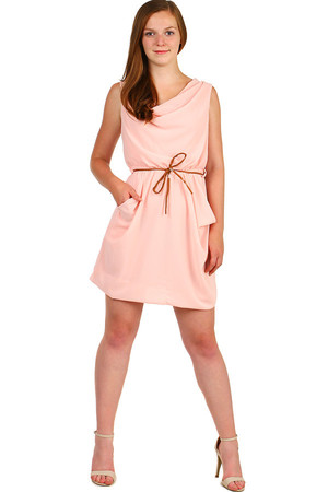 Women's summer mini dress loose cut, with pockets and thin strap. Material: 95% viscose, 5% elastane