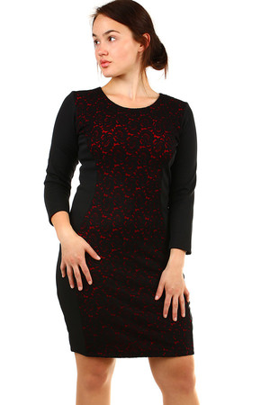 Women's cotton dress with lace in front and three quarter sleeves. Up to size 54 - for plump. Material: 95% cotton, 5%