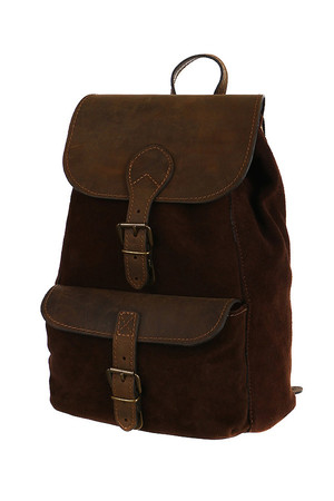 Women's universal small backpack made of cut leather beef. Eco-friendly product made of natural materials. Luxurious and