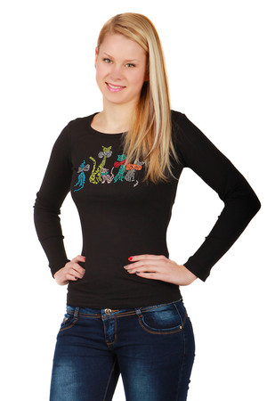Women's cotton t-shirt. On the front is a flintish picture with a motif of cats. Long sleeve. Round neckline. Suitable