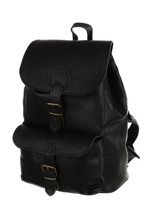 Universal small pork leather backpack. lockable with drawstring and buckle with lock lined, length adjustable straps small