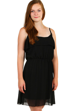 Ladies' mini summer dress, free cut, with ruffles and thin straps. Material: 100% polyester (95% viscose lining, 5%