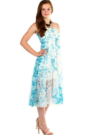 Women's summer dress, free-cut, with flip-flops at the top. Neck tie. Material: 100% silk (65% cotton lining, 35% polyester