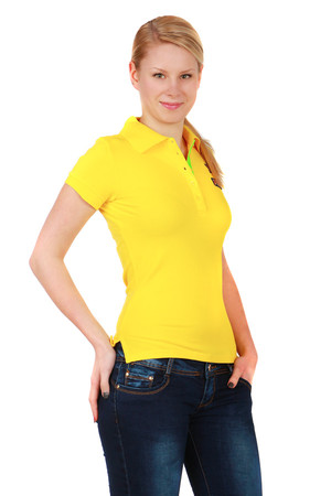 Ladies shirt with collar. Collar with button fastening. T-shirt and sleeve front patch. Material: 95% cotton, 5% elastane