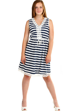 Women's summer striped short dress with neckline embroidery and hem. Elastic rubber at the waist. Material: 95% cotton, 5%
