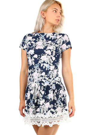 Women's summer cotton dress with floral pattern and short sleeves. Lace at the bottom, a lace at the waist. Material: 95%