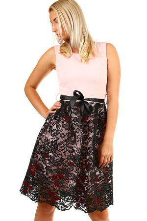 Women's formal short dress with lace skirt and ribbon at the waist. Material: 95% polyester, 5% elastane
