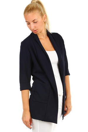 Ladies elegant jacket with three quarter sleeves, without closing. Material: 95% polyester, 5% elastane. Import: Italy