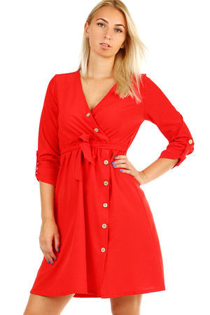 Women's One Color Short Dress with 3/4 Sleeves. Ribbon bows. Material: 95% polyester, 5% elastane Import: Italy