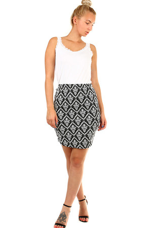 Women's short case skirt with retro pattern. Up to 3XL - even for a full-bodied figure. Material: 78% cotton, 22% polyester.