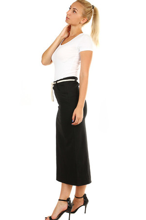 Ladies' black, semi-long skirt with decorative string strap and rear slit. Material: 95% cotton, 5% elastane. Import: Italy