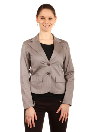 Elegant women's classic style jacket with two button fastening. The back is made of fine lace. Import: Italy Material: 97%