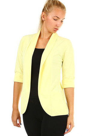 Monochrome ladies jacket with three-quarter sleeve. Without closing. Material: 95% polyester, 5% elastane. Import: Italy