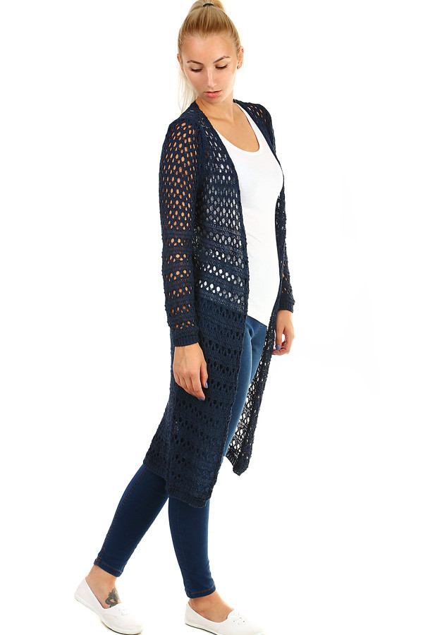 Long fishnet cardigan