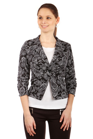 Women's elegant jacket for one button and with a modern motif. 3/4 sleeve ends are slightly gathered. Import: Italy Material: