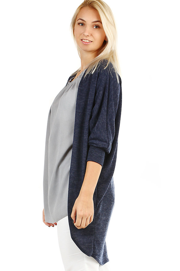 Women's long brindle cardigan with 3/4 sleeves