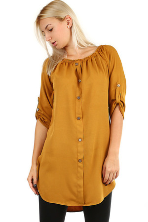 Women's summer shirt with three-quarter sleeves and carmen neckline. A decorative flap with buttons on the front. Can