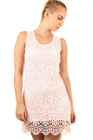 Women's summer short dress with lace on the front. Material: 95% cotton, 5% elastane