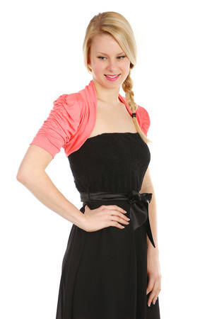 Women's bolero with short, slightly ruffled sleeve. Import: Italy Material: 97% viscose, 3% elastane