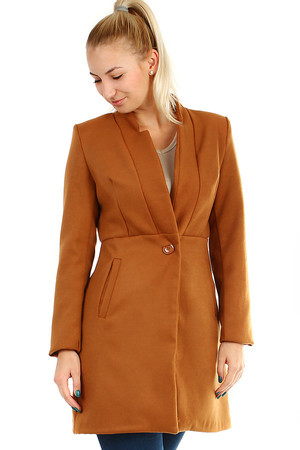 Elegant short ladies' coat of the A-style with button fastening. Design without hood. Suitable for autumn-winter.