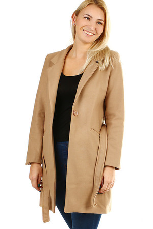 Elegant women's longer coat for a transitional period. Button and belt fastening. Design without hood, with collar.