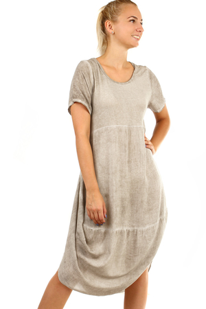 Women's summer beach long dress with short sleeves and round neckline. Thanks to free cut suitable for full-bodied figure.