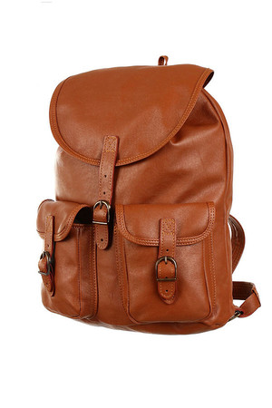 Universal Large Genuine Leather Backpack - Handmade product. A4 format lockable flap with buckle (+ drawstring) hanging loop