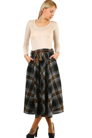 Elegant ladies maxi skirt, checkered pattern, elastic waistband with decorative belt. Suitable for colder weather, ideal for