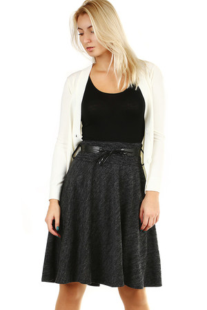 Women's midi skirt, knee length, half-round cut, decorative belt, winter cotton or cooler spring and autumn days.