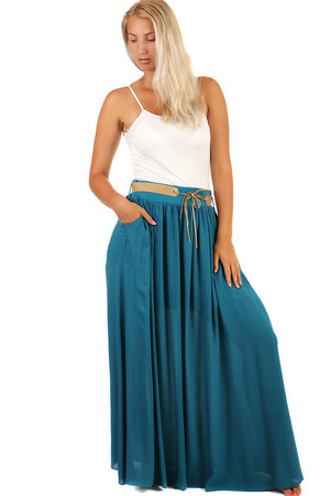 Single color summer maxi skirt with pockets and belt. Material: 100% viscose. Import: Italy
