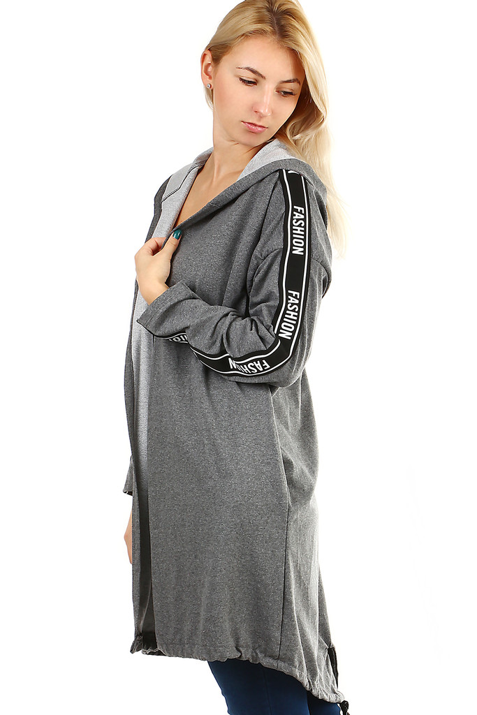 Long women's cardigan with lettering on the sleeves