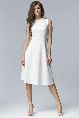 Women's midi dress without sleeves and no neckline. Hidden zip fastening on back. A simple Audrey Hepburn-style shortcut for