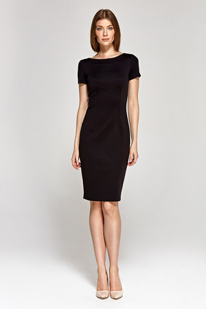 Women's business mid-length dress with short sleeves. On the back there is a zip fastener. The dress is versatile and is a