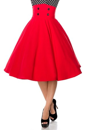 Women's pin-up style skirt. The tall waist is decorated with buttons. Zip fastening hidden in side seam. Belsira's proven