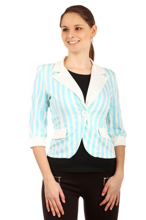Striped women's jacket with three-quarter sleeves. Turning on the button. Short length with side pockets. V-neckline Very