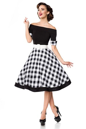 Women's vintage dress with a patterned wheeled skirt under the knee. At the end of the short sleeves there are cuffs in the