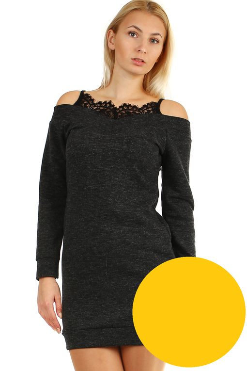 Knitted mini dress lace in the neckline