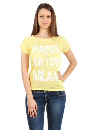 Modern t-shirt with print. Longer back. Import: Italy Material: 95% viscose, 5% elastane