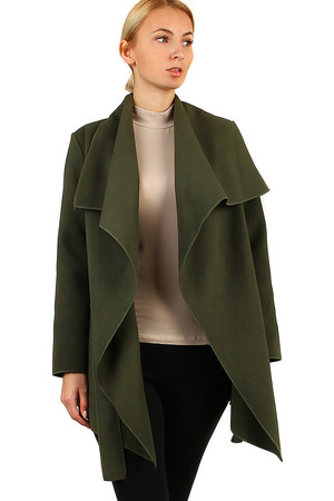 Women's fleece jacket wrapping look elegant shorter cut with sewn pockets. without closing lashing belt suitable for spring