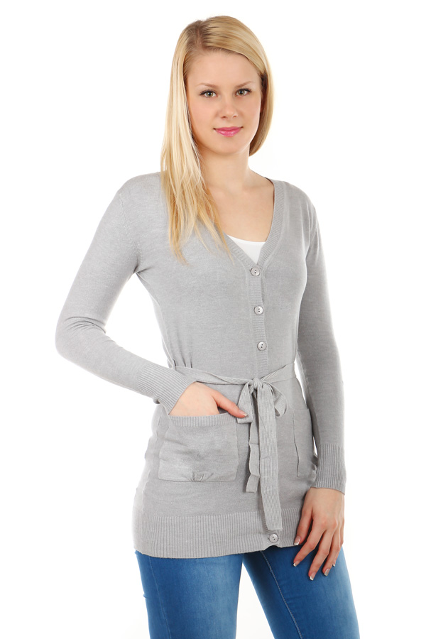 Longer ladies sweater with belt