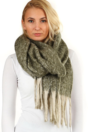 Warm hairy scarf. knitted pattern fine highlights fringed ending pleasant material Material: 100% viscose