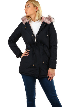 Women's warm dark blue parka. detachable pink fur along zipper, hood and sleeves interior padded plush lining zip