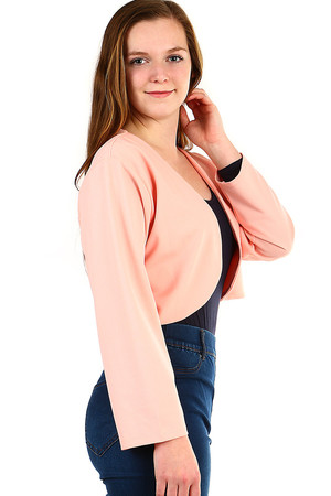 Women's elegant bolero elegant short cut long sleeve round edges of front part suitable for formal wear Material: 95%