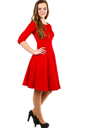 Red women's dress suitable for ball or other social event, as well as for everyday wear wherever you want to impress and