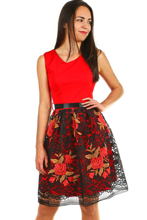 Evening ladies dress with a lace skirt embroidered with lace embroidered roses. Satin ribbon in the waist, which can be