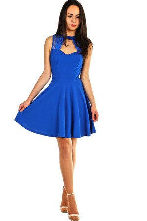 Short women's ball or formal dress with lace in the neckline and on the back. A-line cut flattering figure. The universal