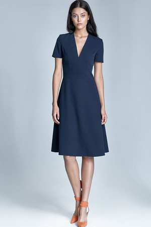 Elegant ladies dress for the company monochromatic deep V-neckline without reinforced décolletage short sleeve