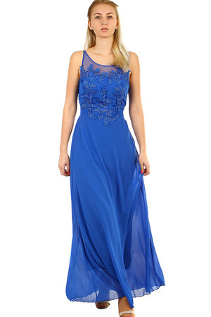 Women's Chiffon Long Dress sleeveless, adjustable straps chiffon round neckline back elastic flip-flop and tie-down strap it